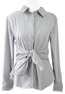 W118 by Walter Baker Career Business Preppy Work Pinstripe Button Down Shirt Gray