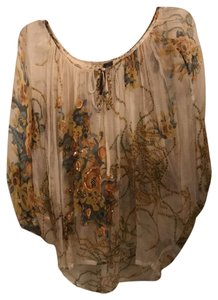Kay Celine Top sheer cream with yellow, orange and blue flower print