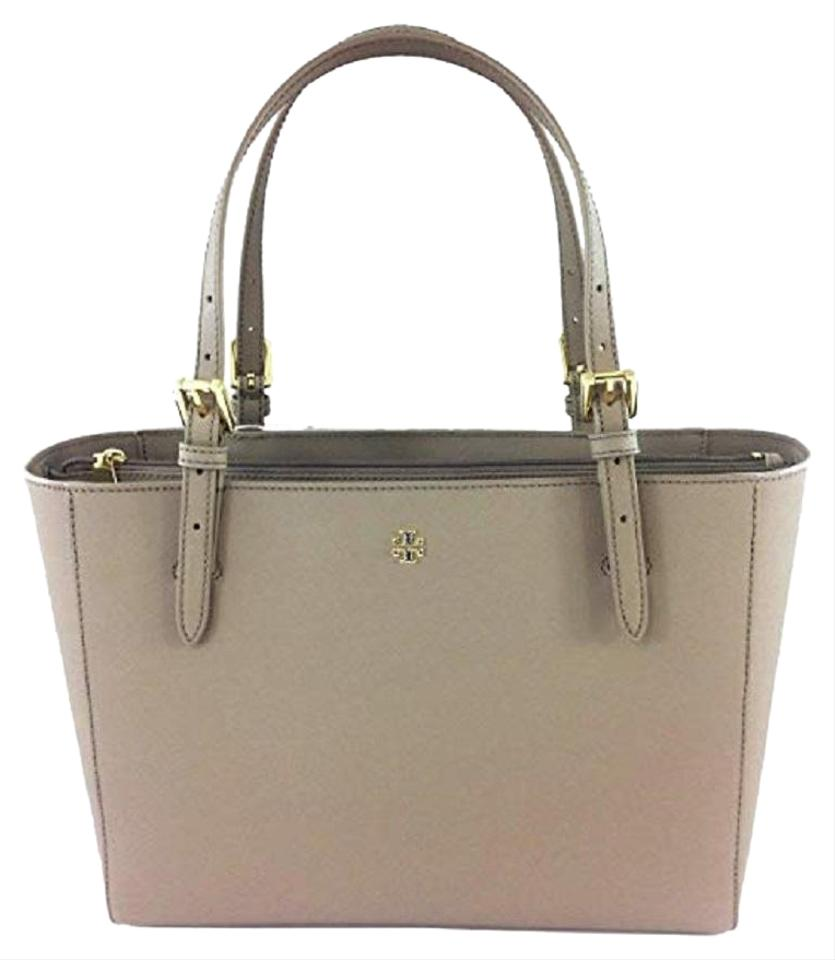 26eddec3b8e3 Tory Burch Emerson Small Buckle Gray Leather Tote - Tradesy