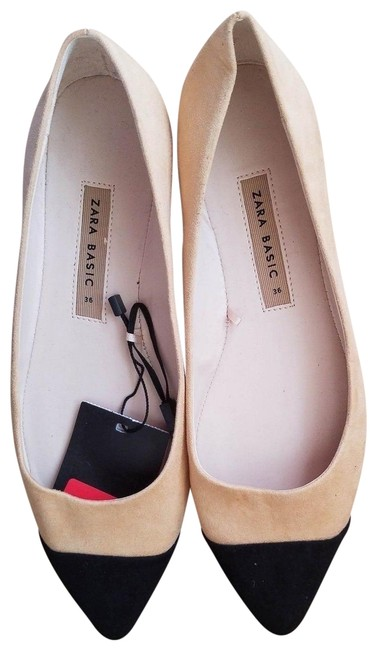 Item - Beige Black New Faux Suede Pointed Cap-toe Ballerina Flats Size US 6 Narrow (Aa, N)