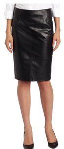 Anne Klein Leather Pencil Lined Skirt Black