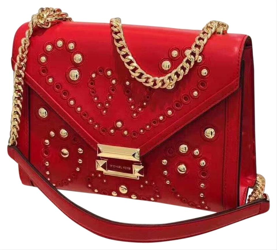 0c4a1399b6f5 MICHAEL Michael Kors Studded Whitney Bright Red Leather Shoulder Bag ...