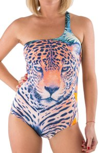 Just Cavalli New Women Leopard Printed Open Back Lined One-piece Bathing Suit