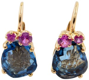 Pomellato EARRINGS IN ROSE GOLD WITH BLUE LONDON TOPAZ AND PINK SAPPHIRES