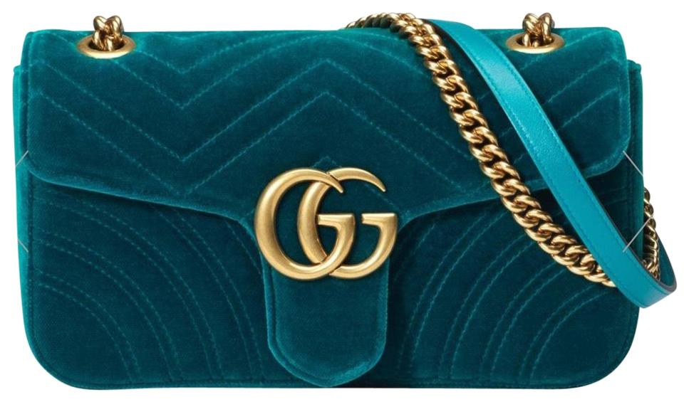 852e09444 Gucci Marmont Teal Small Gg Small Quilted Blue Velvet Shoulder Bag ...