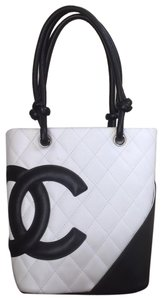 Chanel Signature Leather Quilted Tote in C0200 (white lambskin with contrasting black)