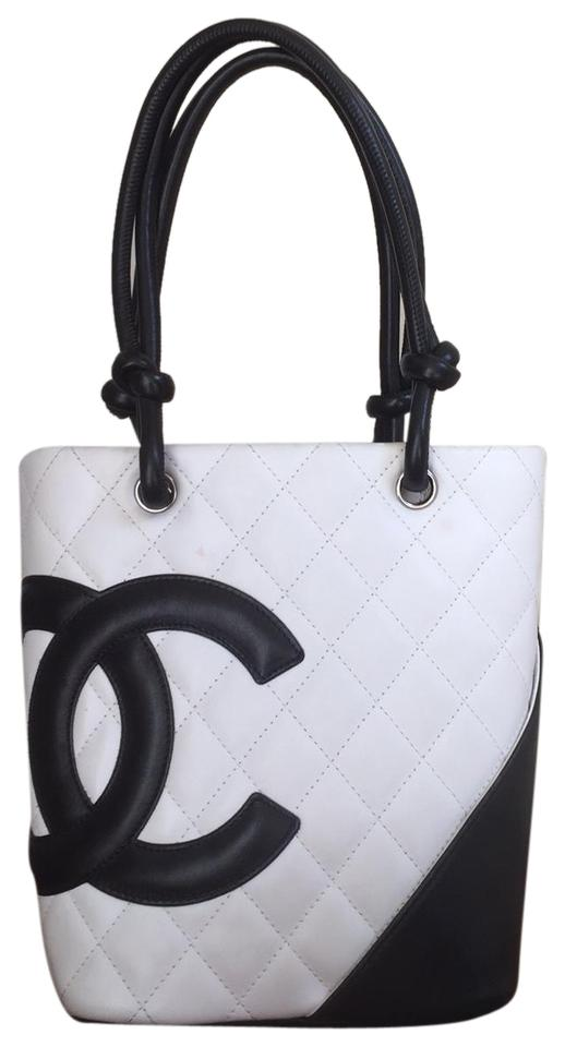 a7502e4db0d8 Chanel Cambon Quilted Size Small C0200 (White Lambskin with Contrasting  Black) Leather Tote