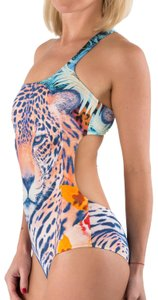 Just Cavalli New Women Leopard Printed Open Back Lined One Piece Swimsuit