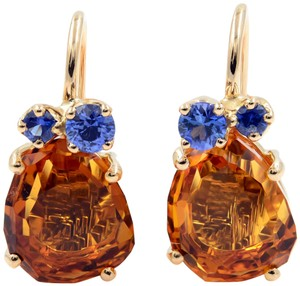 Pomellato Rose Gold Madera Quartz And Blue Sapphire Earrings