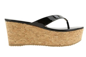 Jimmy Choo Patent Leather Cork Paque Black Wedges