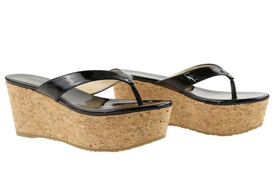 Jimmy Choo Patent Leather Cork Paque Black Wedges Image 1