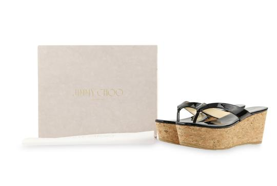 Jimmy Choo Patent Leather Cork Paque Black Wedges Image 11
