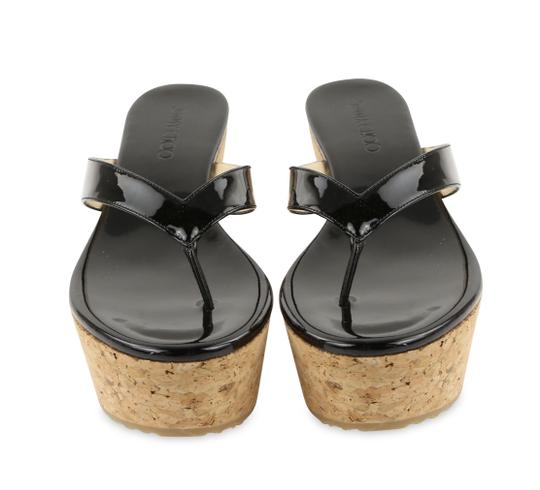 Jimmy Choo Patent Leather Cork Paque Black Wedges Image 2