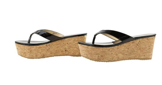 Jimmy Choo Patent Leather Cork Paque Black Wedges Image 4