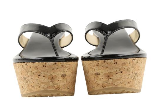 Jimmy Choo Patent Leather Cork Paque Black Wedges Image 5