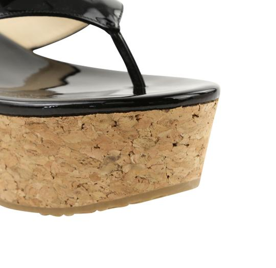 Jimmy Choo Patent Leather Cork Paque Black Wedges Image 6
