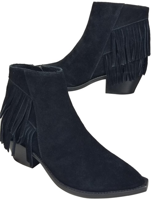Item - Black Suede Fringe Ankle Boots/Booties Size EU 37 (Approx. US 7) Regular (M, B)