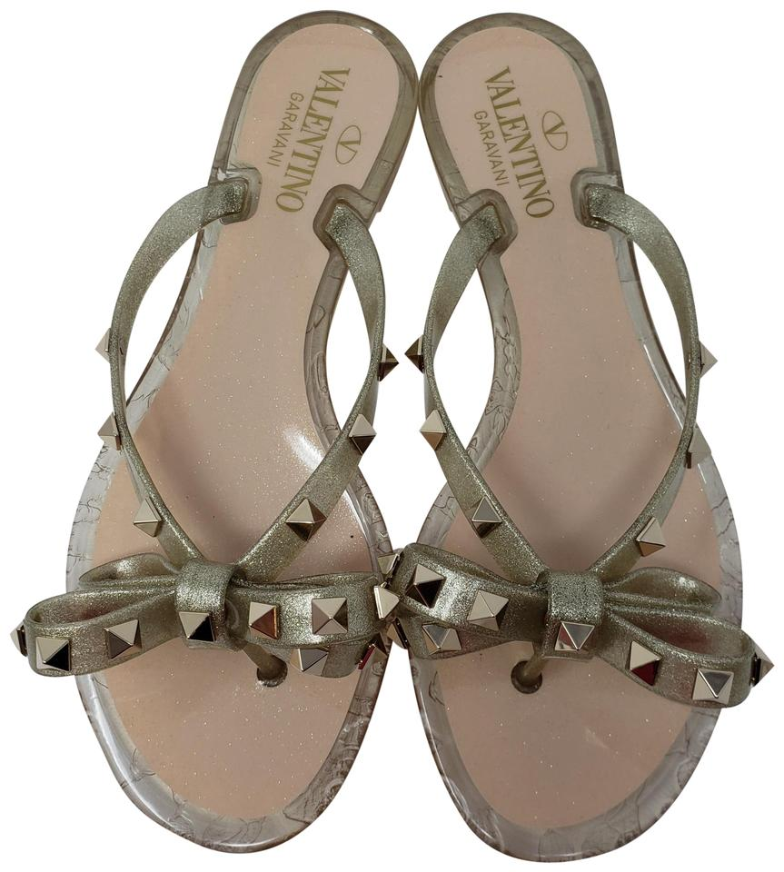 a3aa3ff357df Valentino Gold Rubber Rockstud Jelly Sandals Size EU 35 (Approx. US ...