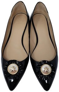 Tory Burch Patent Leather Gold Hardware Melody Reva Pointed Toe Black Flats