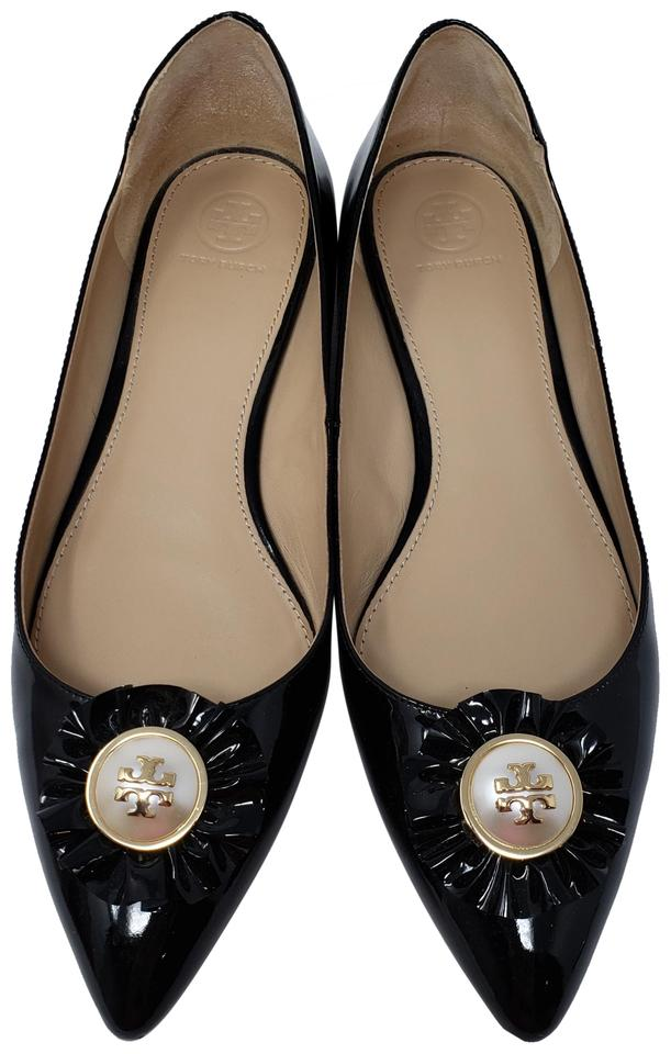 12b6dc0f74e3c Tory Burch Black Patent Leather Melody Pointed-toe Ballet Flats Size ...