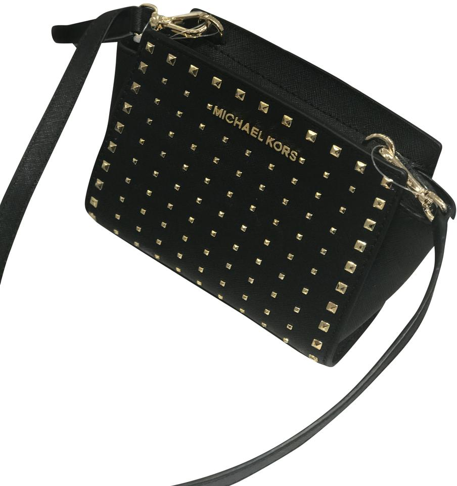 a8f0a35ef88d Michael Kors Selma Stud Mini Black Gold Black Leather Cross Body Bag ...