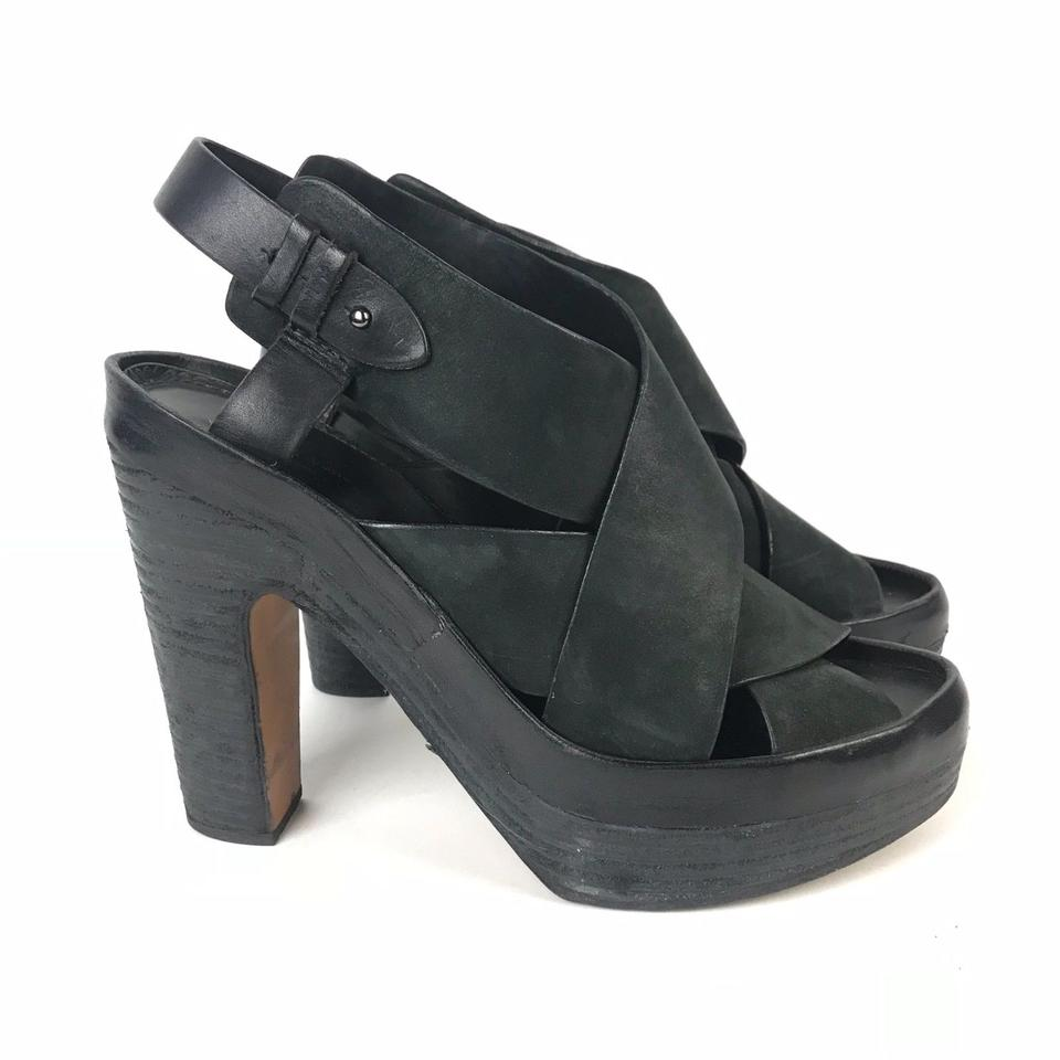 e8284505dc5 Rag   Bone Black Womens Cross Ankle Strap Platform Hee Sandals Size ...