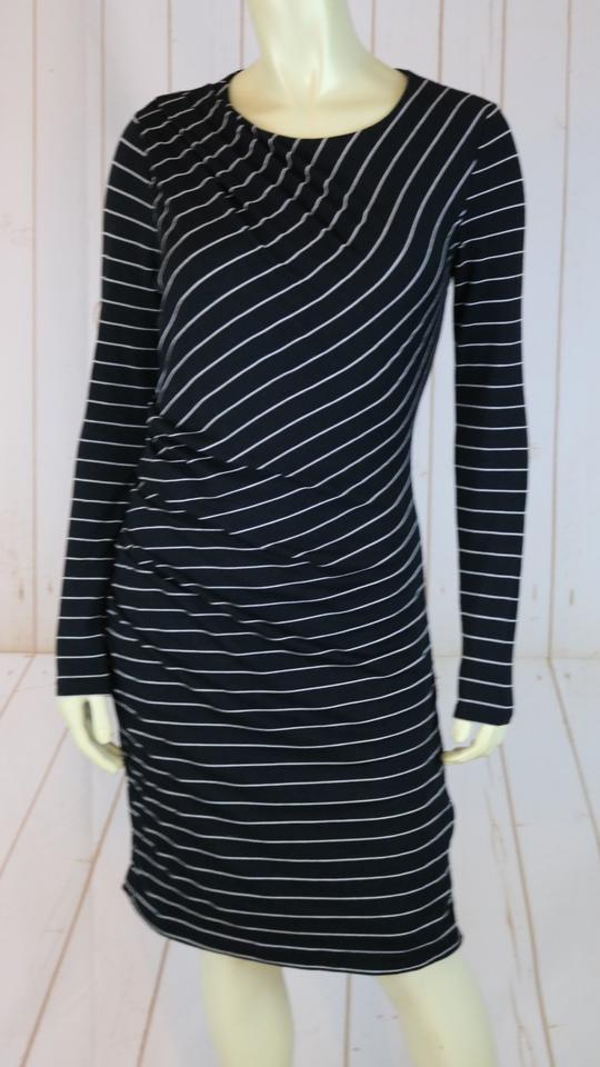 Banana Republic Black White Striped Pullover Poly Stretch Mid Length