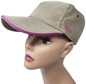 Gucci Tan pink canvas Gucci logo printed baseball cap M sz