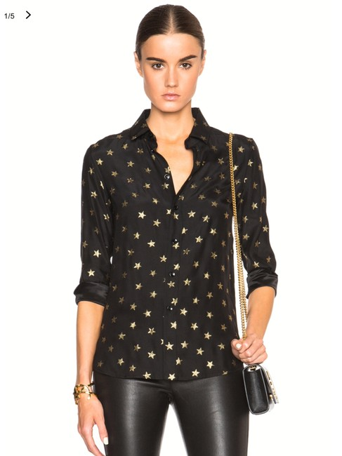 Item - Black Gold Stars Blouse Button-down Top Size 6 (S)