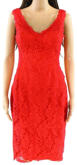 Item - Red Womens V-neck Floral-lace Solid Sheath Mid-length Formal Dress Size 14 (L)