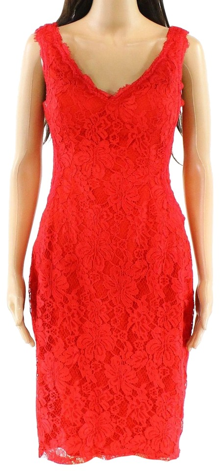 bb6825f0 Xscape Red Womens V-neck Floral-lace Solid Sheath Mid-length Formal ...
