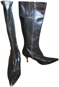 Charles by Charles David Leather Boots Pointed Dark Grey Boots