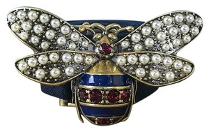 Gucci Gucci Red & Navy Blue Crystal & Pearl Queen Margaret Bee Cotton Belt