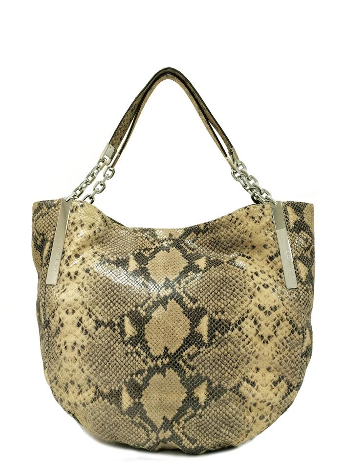 1e492a0779ef7b MICHAEL Michael Kors Python Tote Magnetic Closure Shoulder Bag Image 0 ...
