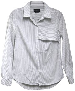 Barneys Co-Op Panel Collar Work Striped Button Down Shirt White and Blue