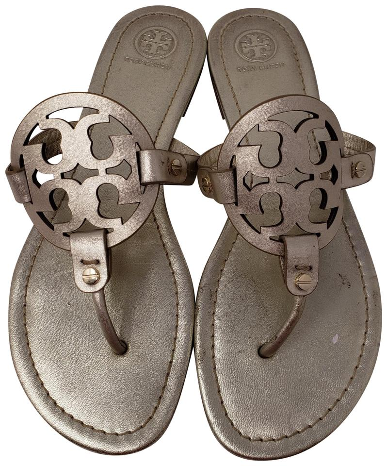 b73f65817cf5 Tory Burch Gold Metallic Leather Miller Sandals. Size  US 9.5 Regular (M ...