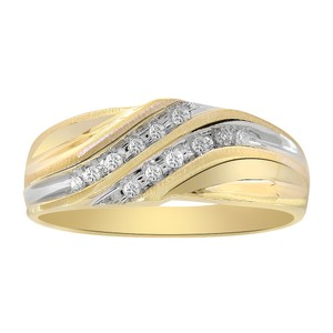Avital & Co Jewelry 0.12 Carat Diamond Round Cut Mens Wedding Band 10K Two Tone Gold