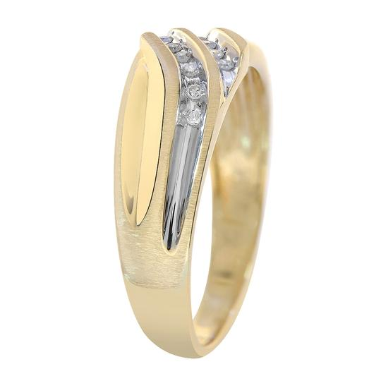 Avital & Co Jewelry 0.12 Carat Diamond Round Cut Mens Wedding Band 10K Two Tone Gold Image 2
