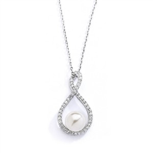 Mariell Eternity Symbol Cubic Zirconia Wedding Necklace With Pearl 4075n