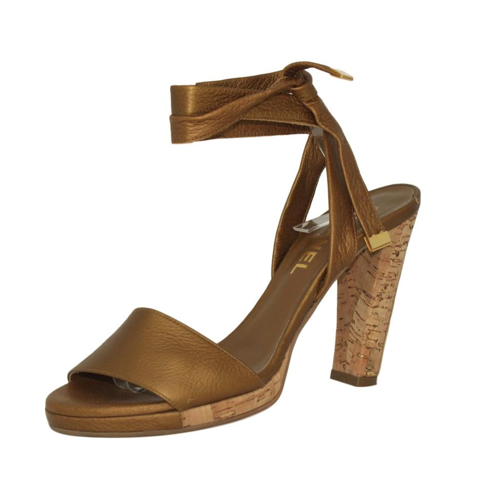 c9761dfd45f7a9 Chanel Gold Lambskin Leather Wrap Up with Cork Heels Ghw Sandals ...
