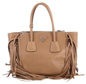 Prada Twin Pocket Fringed Glace Calf Small Brown Leather Tote - Tradesy 1d82031129f14