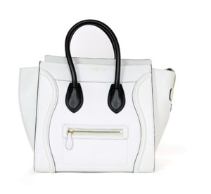 Céline Mini Handbag Kardashian Tote in White/Black