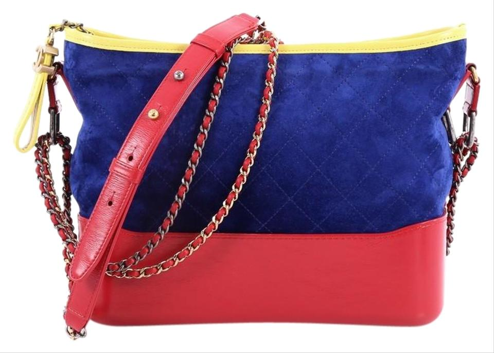 6a85b9c8b70a Chanel Gabrielle Quilted Medium Red Blue and Yellow Suede Hobo Bag ...