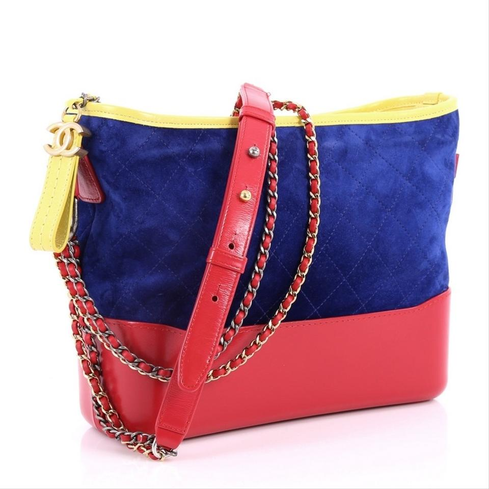 d10b211396eb66 Chanel Gabrielle Quilted Medium Red Blue and Yellow Suede Hobo Bag - Tradesy