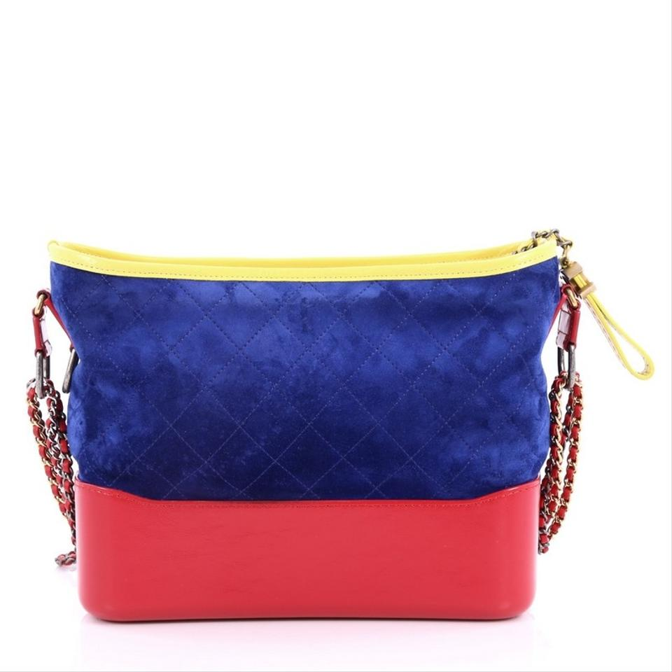 2c97305ebc7596 Chanel Gabrielle Quilted Medium Red Blue and Yellow Suede Hobo Bag ...