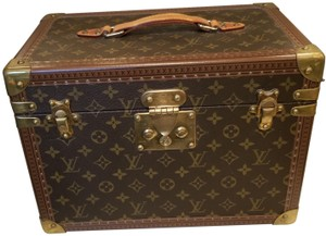 Louis Vuitton Train Case Cosmetic Luggage brown monogram Travel Bag