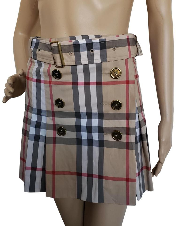 dffbe66e4d Burberry Nova Check Plaid Pleated Gold Hardware Cotton Skirt Beige Image 0  ...