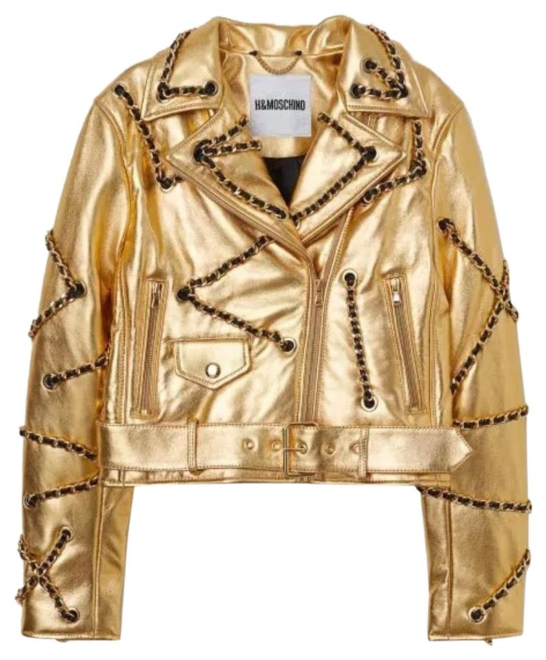0ac1a409a MOSCHINO [tv] H&M Gold Women's Chain Leather Biker Jacket Size 4 (S ...