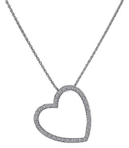 Avital & Co Jewelry 0.55 Carat Pave Diamond Heart Pendant on Wheat Link Chain 14K White G