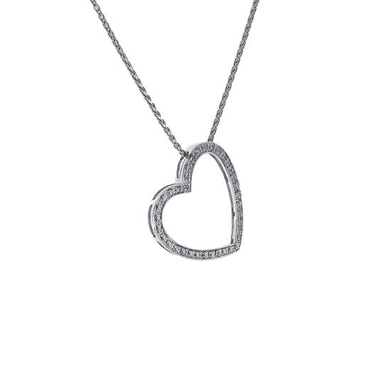 Avital & Co Jewelry 0.55 Carat Pave Diamond Heart Pendant on Wheat Link Chain 14K White G Image 1